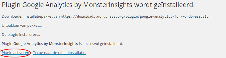google analytics monsterinsights-activeren