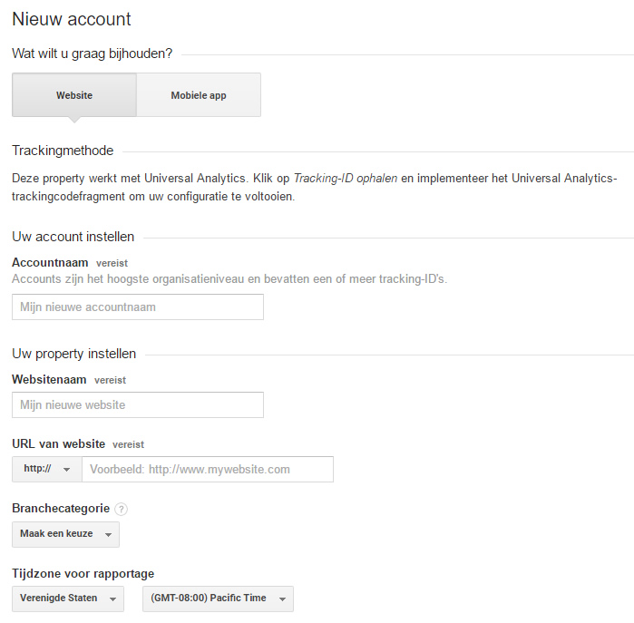 google analytics nieuw account