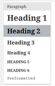 headings wordpress