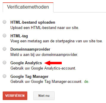 Search console verificatiemethoden